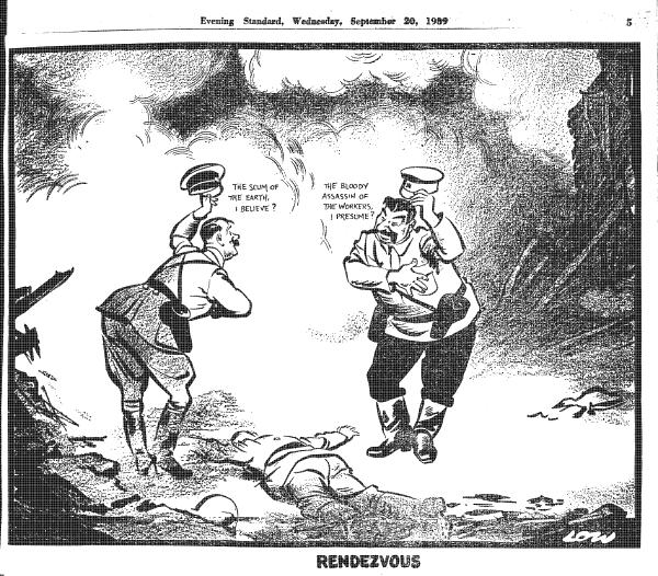 Гитлер: «Отброс человечества, если не ошибаюсь?» Сталин: «Кровавый убийца рабочих, я полагаю?»