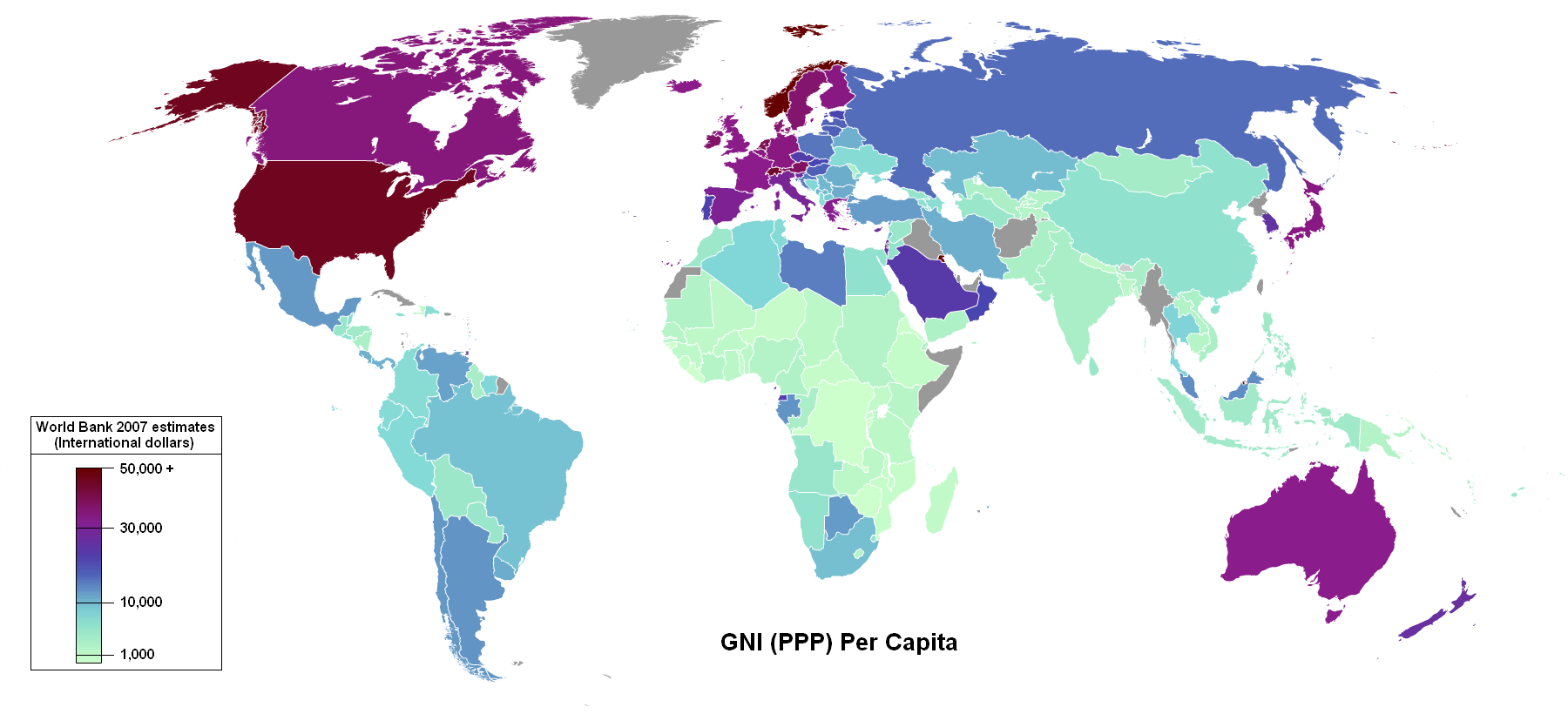 Карта ВНП стран мира