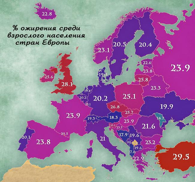 Карта ожирения Европы