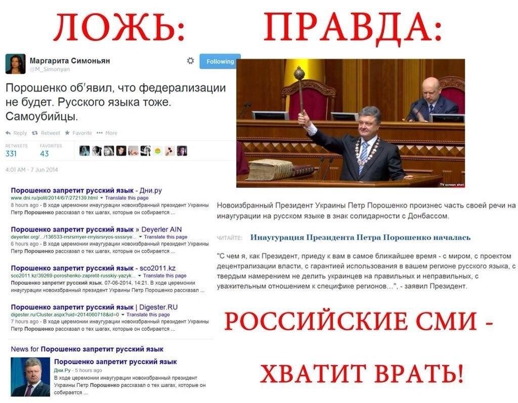 Инаугурация Поршенко на русском языке