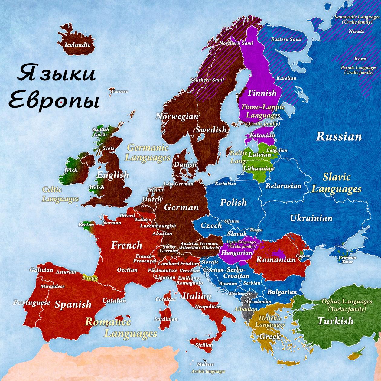 Карта языков Европы