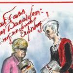 Карикатура на Лагард и Меркель