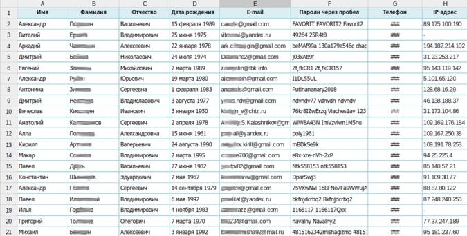 Скриншот базы данных праймериз (Ридус.ру)