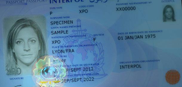 Реальный паспорт карточка Interpol