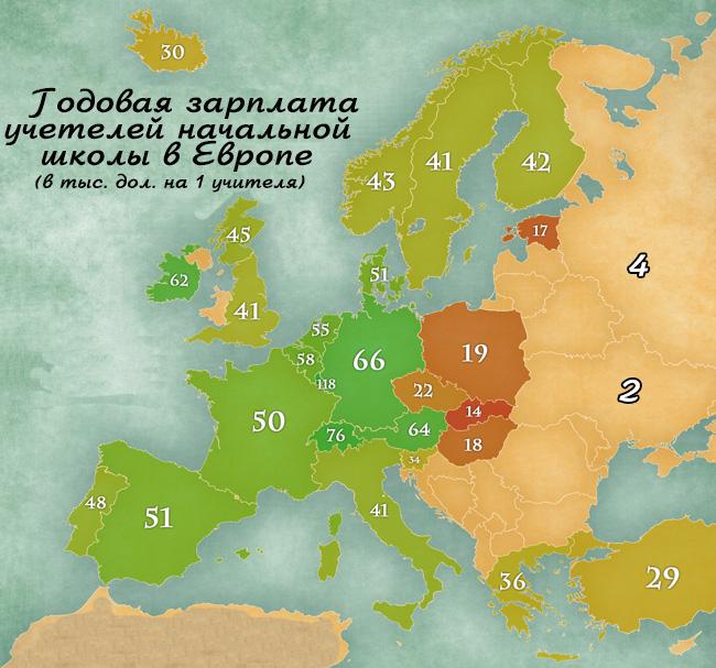 Карта зарплат учителей Европы