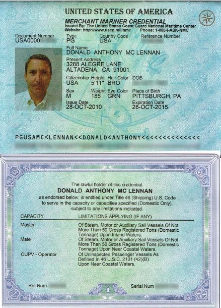 Разворот паспорта моряка США