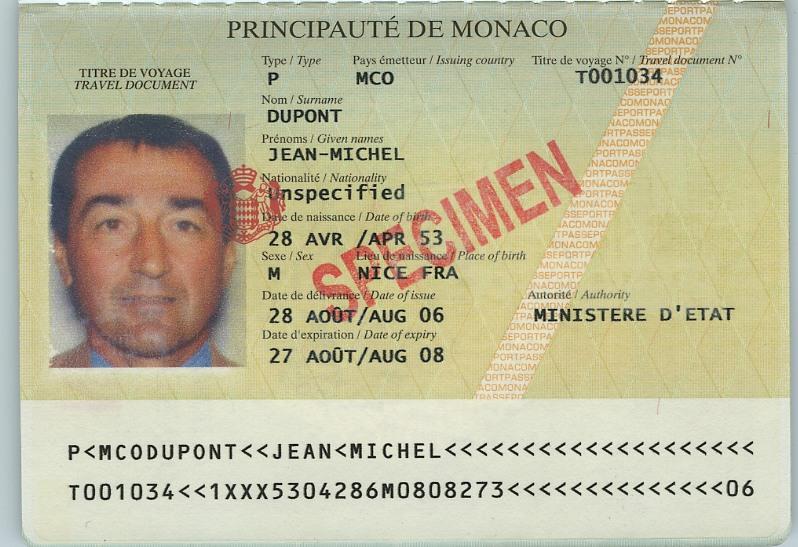 Проездной беженца Монако
