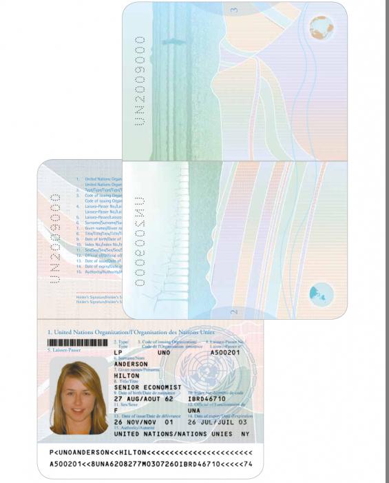 Разворот паспорта ООН