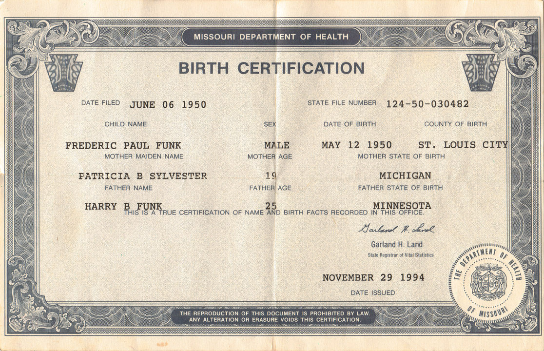 Старое свидетельство о рождении США