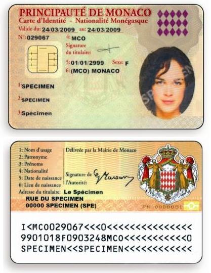 Удостоверение личности карта Монако