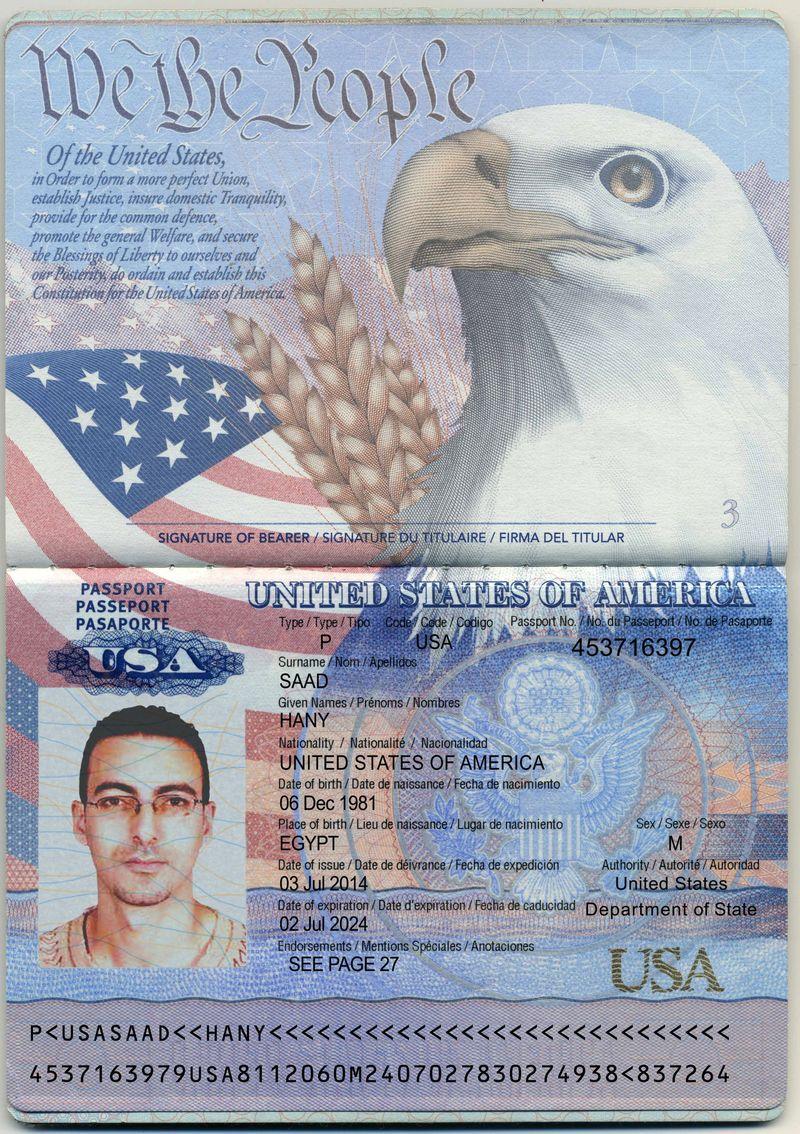 Развернутый паспорт гражданина США