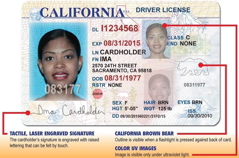 Права, выданные в Калифорнии