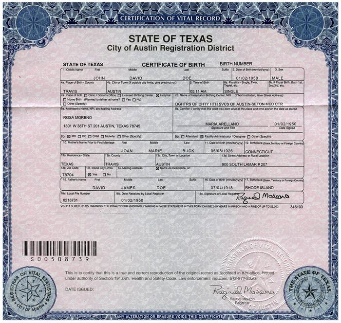 Свидетельство о рождении США