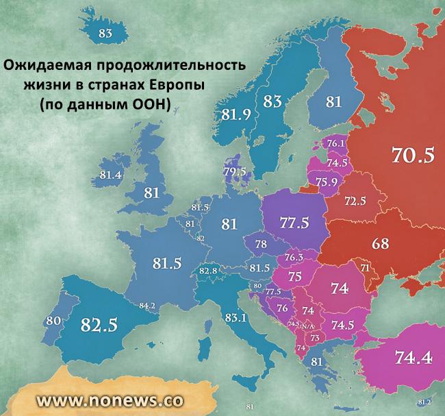 Карта стран по продолжительности жизни