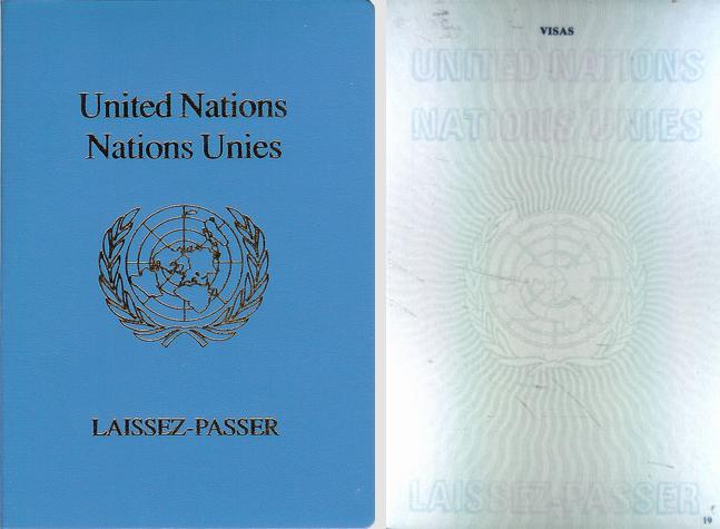 Обложка и внутренняя страница реального паспорта ООН