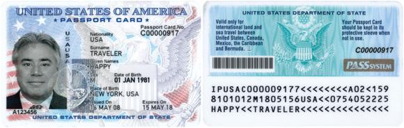 Паспорт карта США