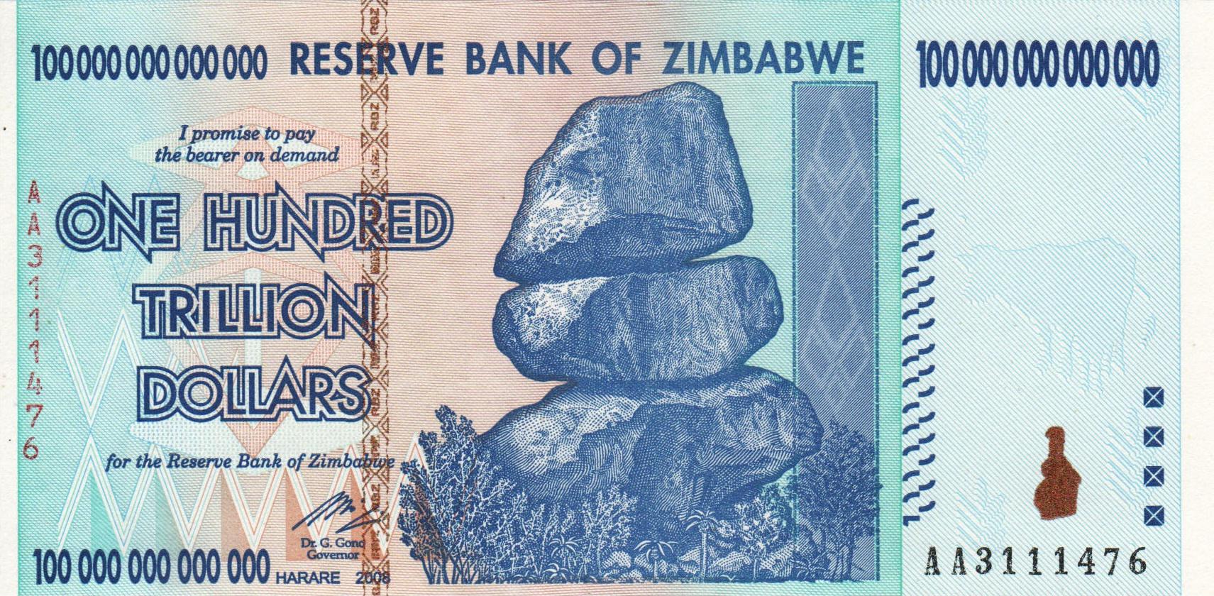 Сто триллионов зимбабвийских долларов