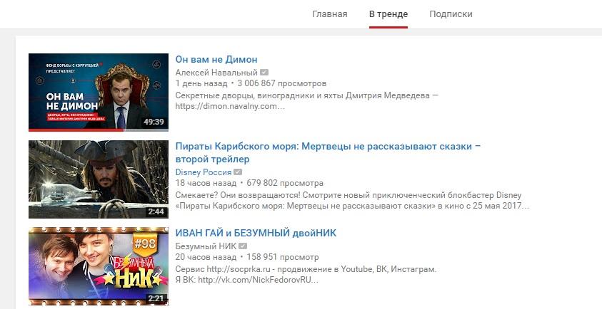 Тренды русского Ютьюба