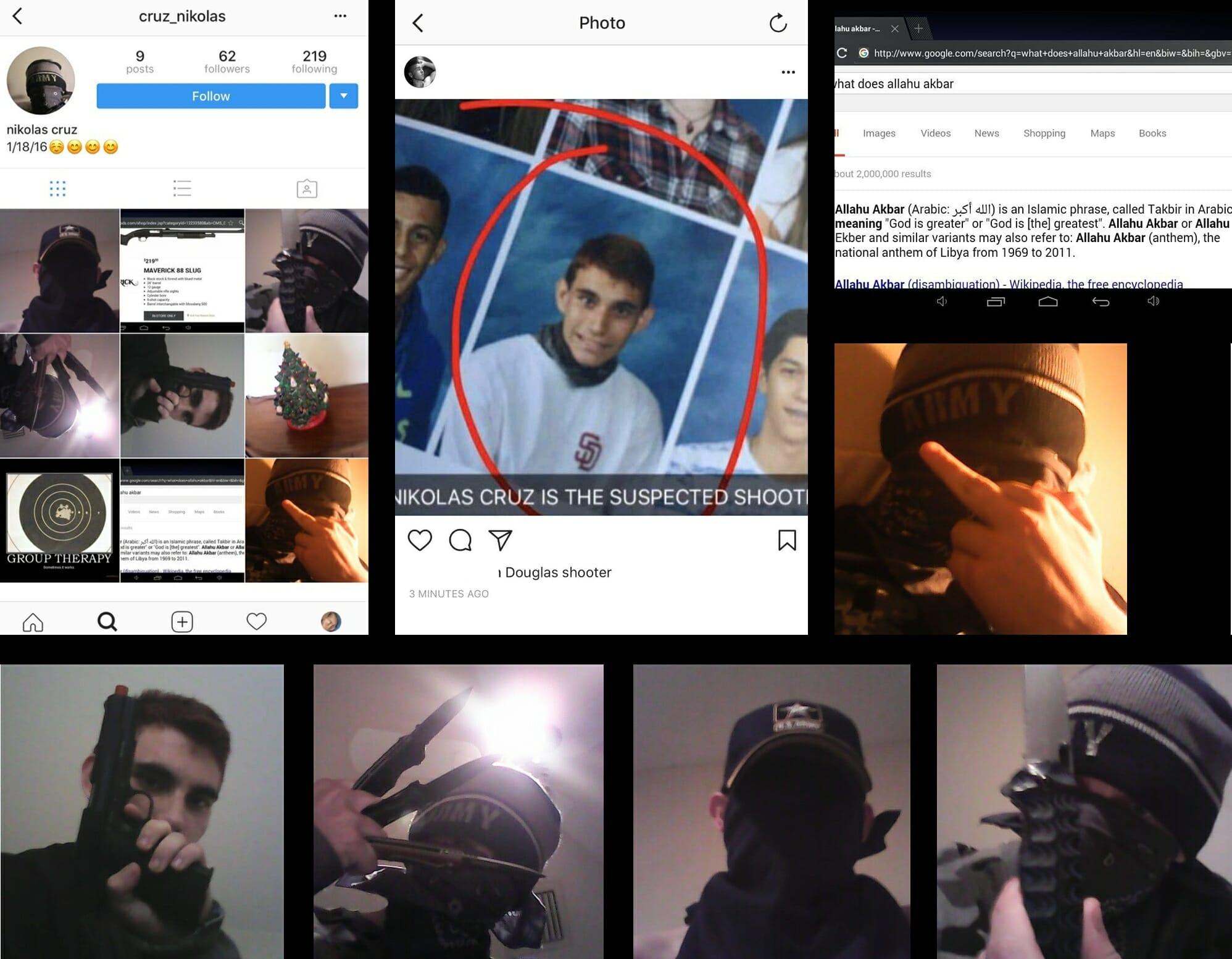 Фотография подозреваемого и предположительно скриншоты аккаунта в Instagram (в настоящее время аккаунт по ссылке недоступен)