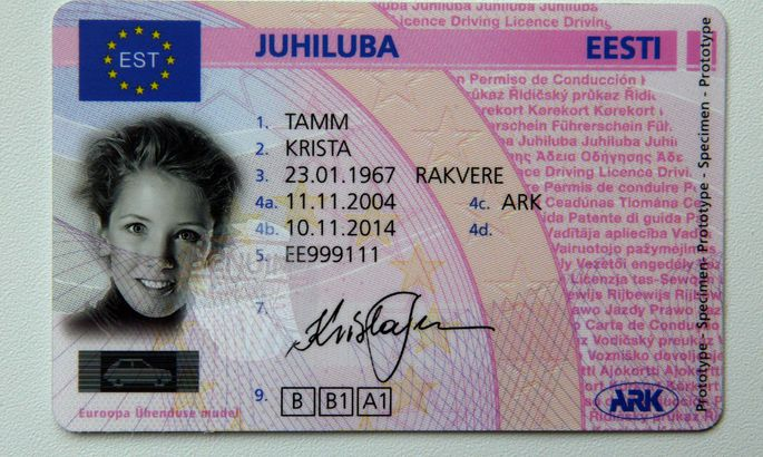 Водительское удостоверение Эстонии