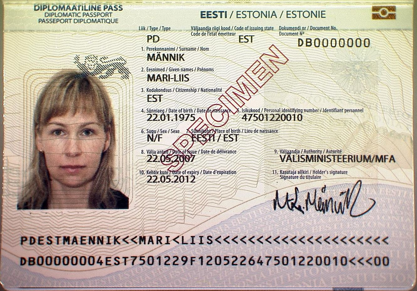 Дипломатический паспорт эстонца