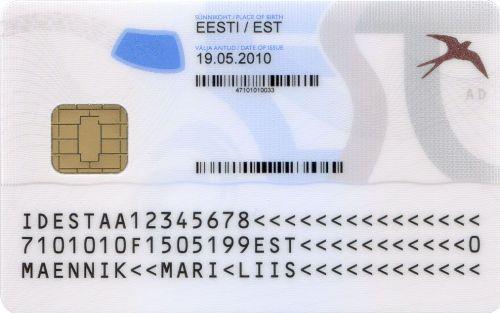 Обратная сторона ID-карты Эстонии