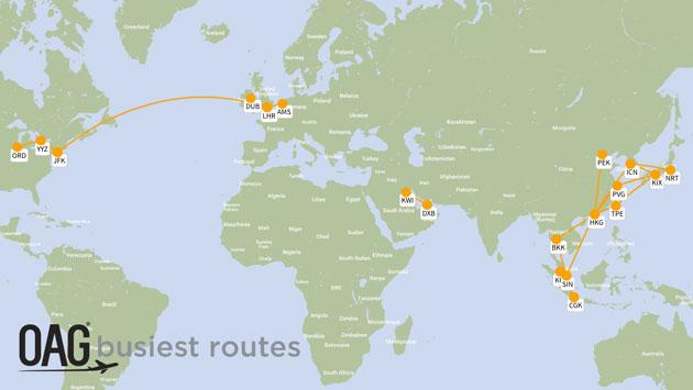 Карта самых популярных авиарейсов мира