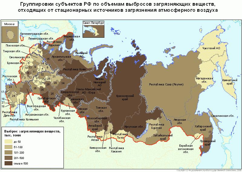 Экологическая карта регионов России