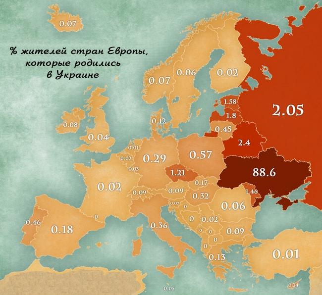 Карта миграции украинцев по Европе