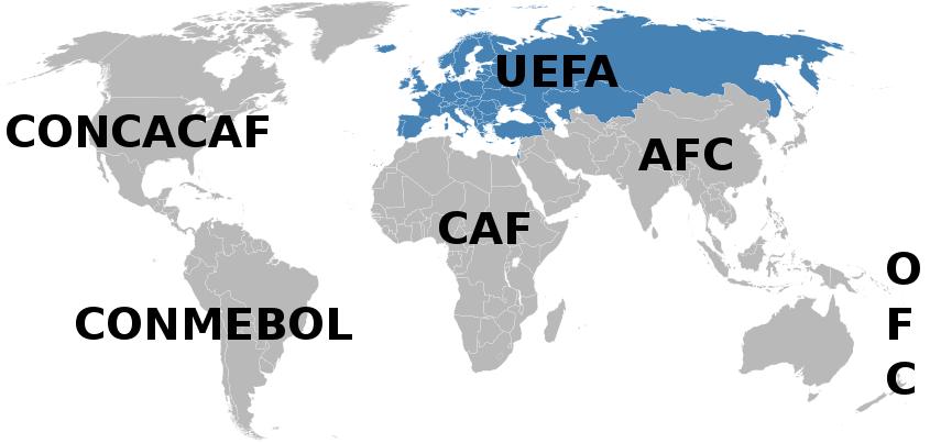 Карта стран УЕФА