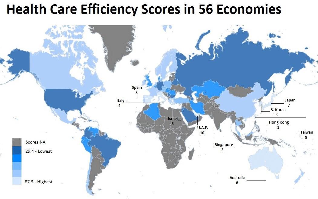 Карта стран мира по уровню медицины
