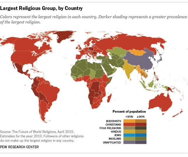 Карта стран по самой популярной религии