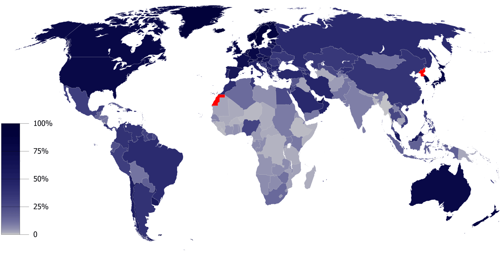 Карта стран мира по распространенности Интернета