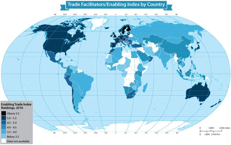 Карта стран по уровню участия в мировой торговле