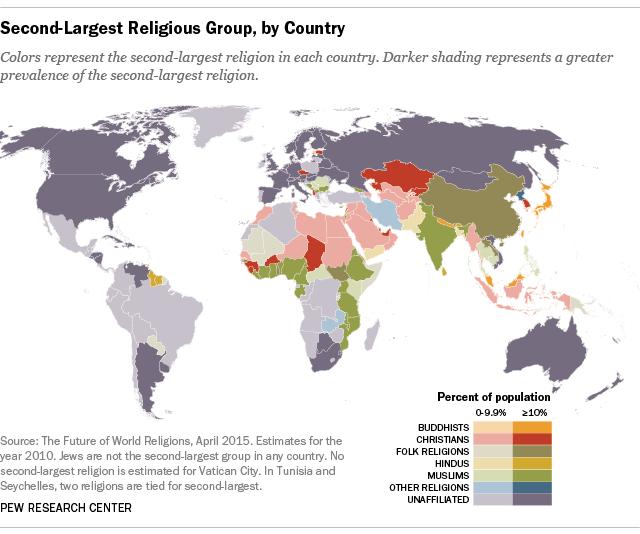 Карта стран по второй религии