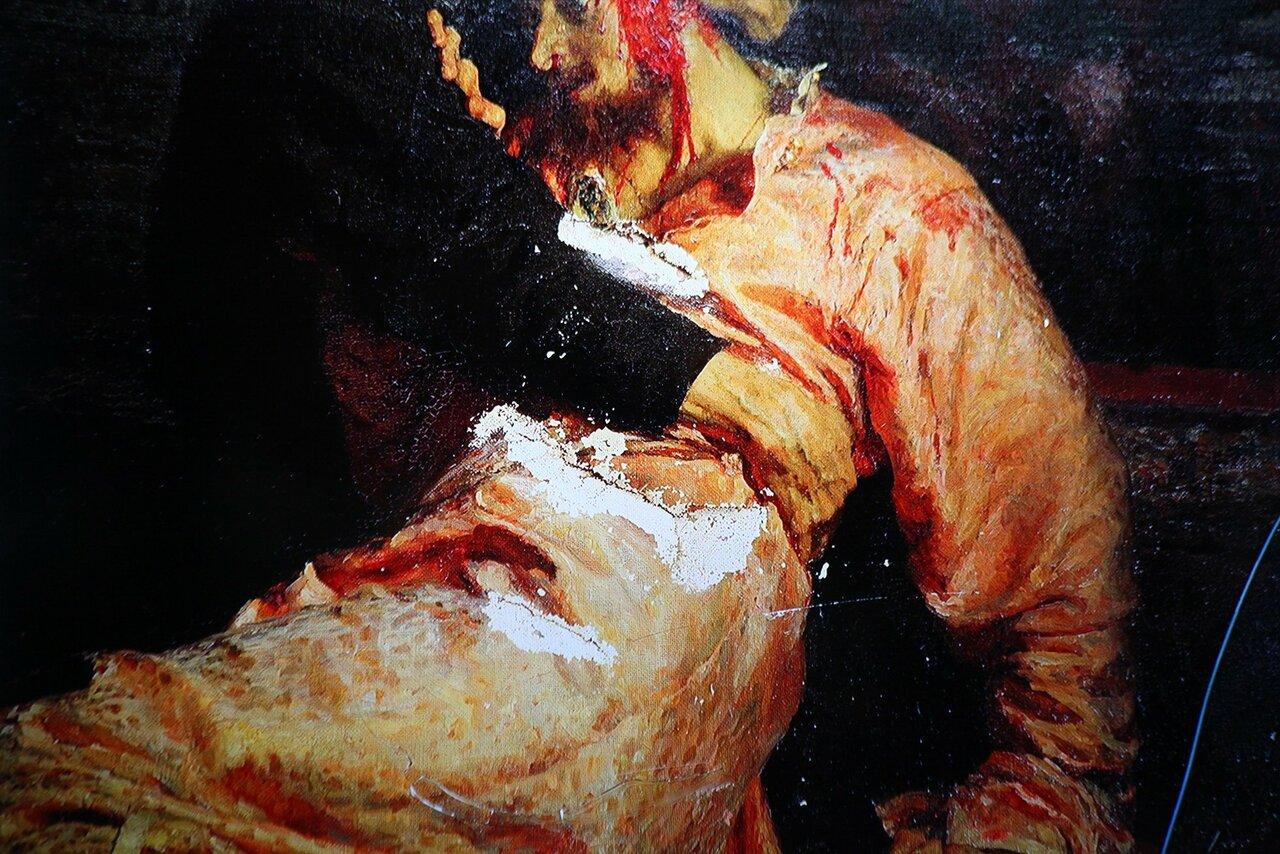 «Иван Грозный убивает своего сына» после того, как ее повредил посетитель
