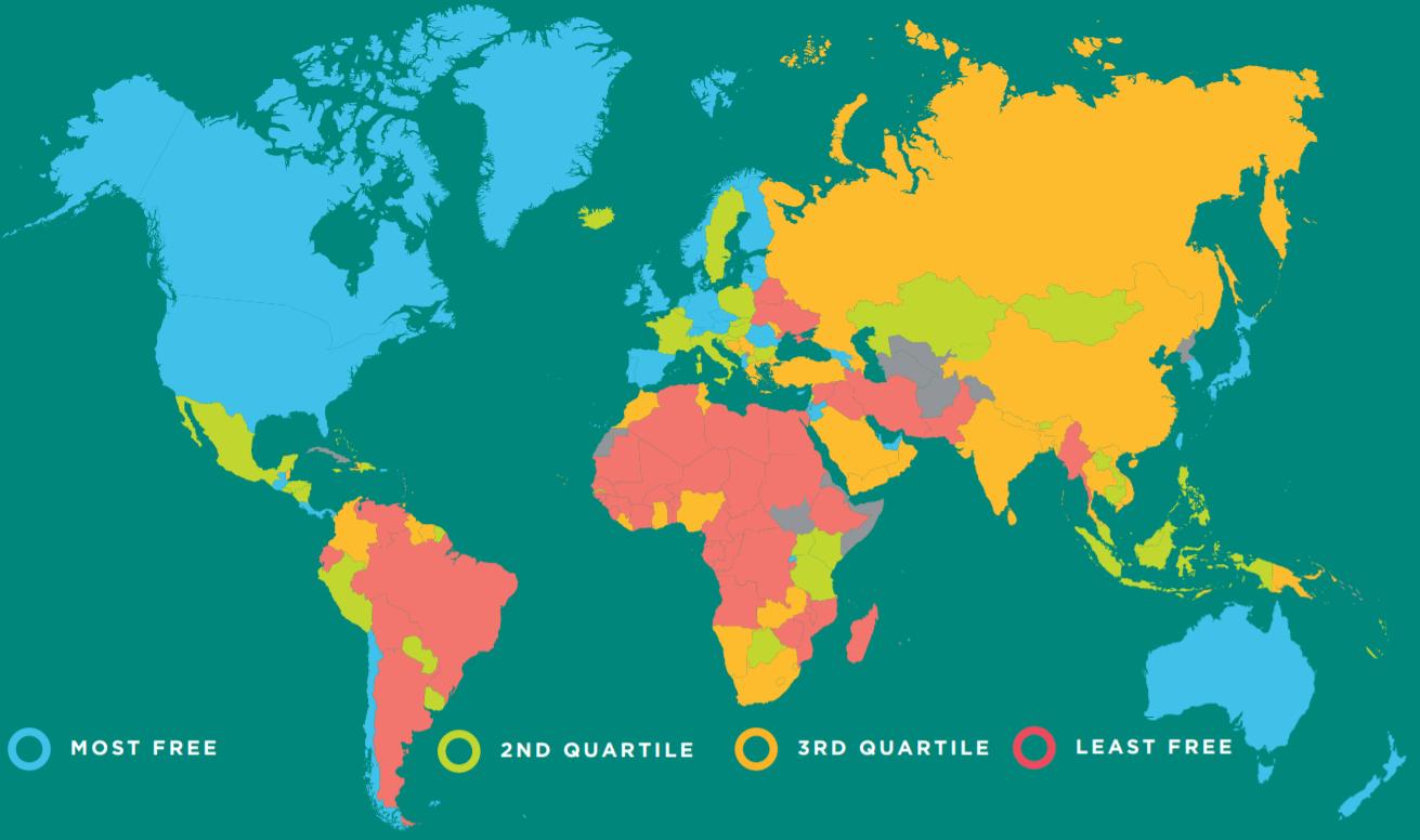 Карта стран по Индексу экономической свободы стран мира
