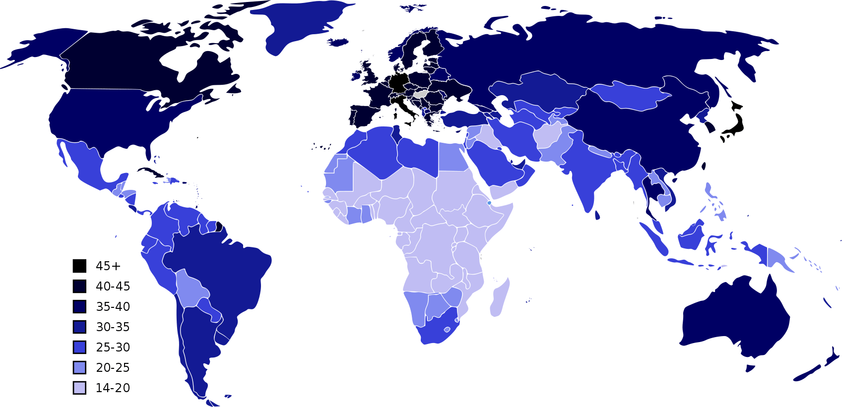 Карта стран по среднему возрасту людей