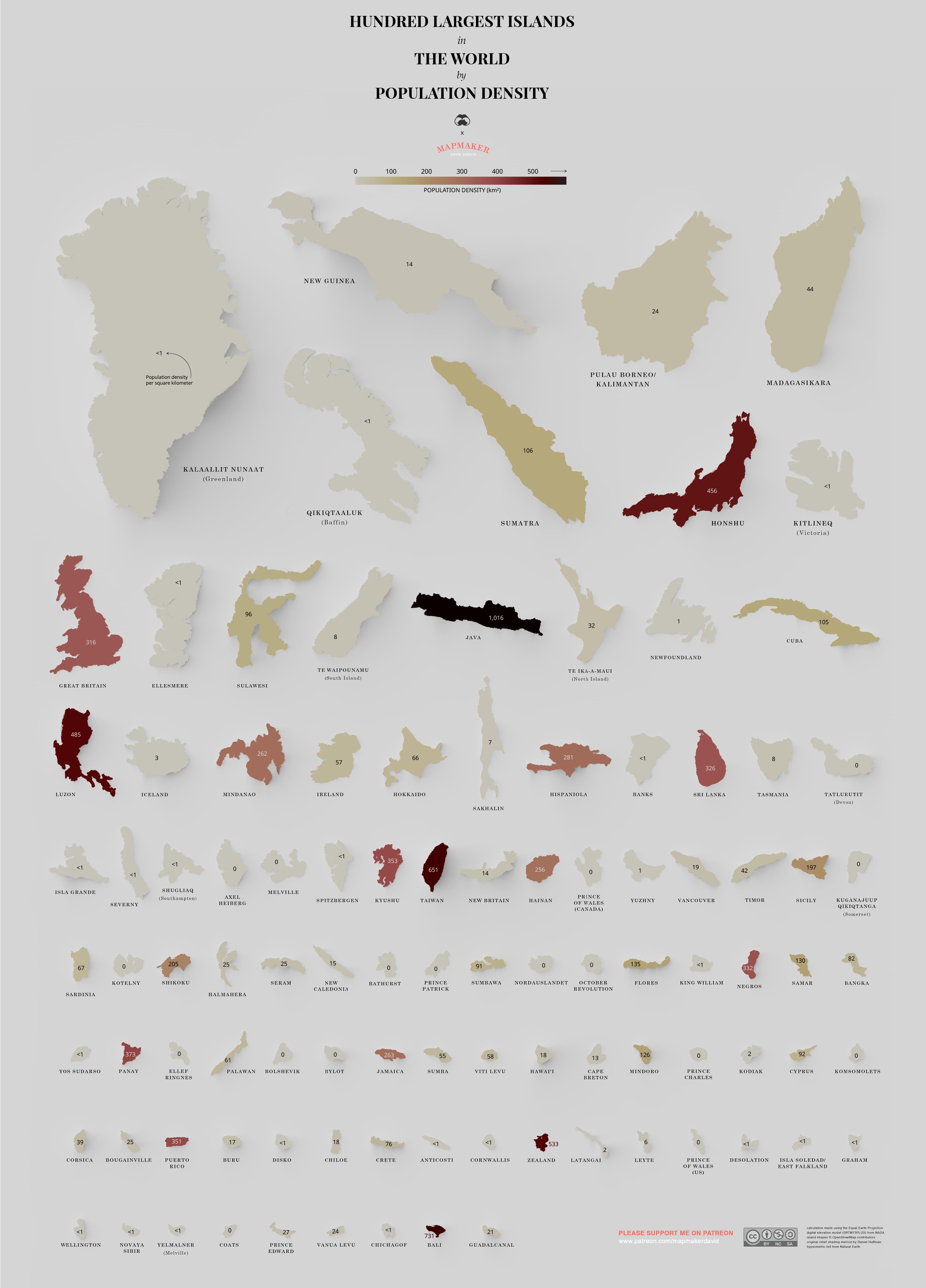Плотность населения крупнейших островов мира