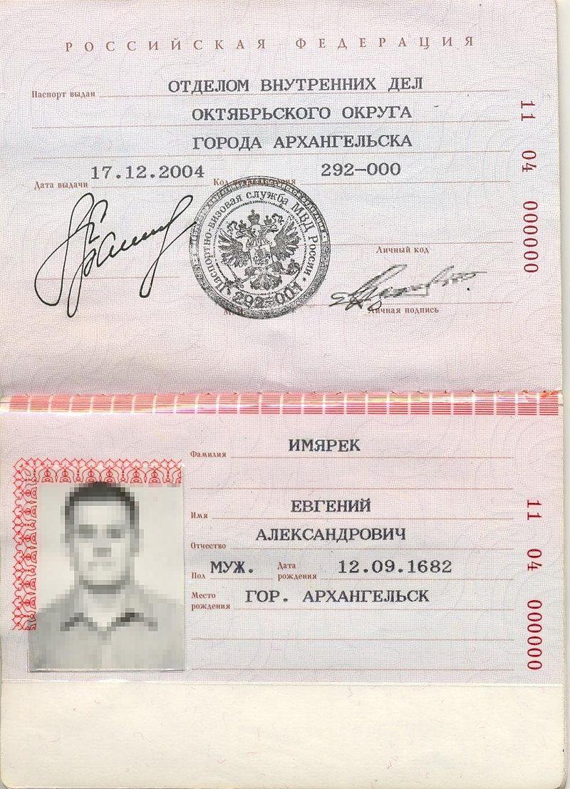Второй разворот паспорта РФ