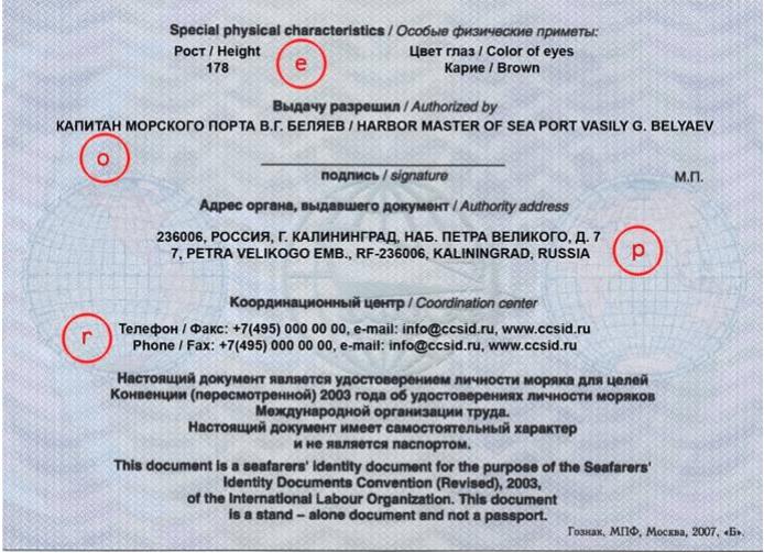 Обратная сторона Чистое Удостоверение личности моряка России
