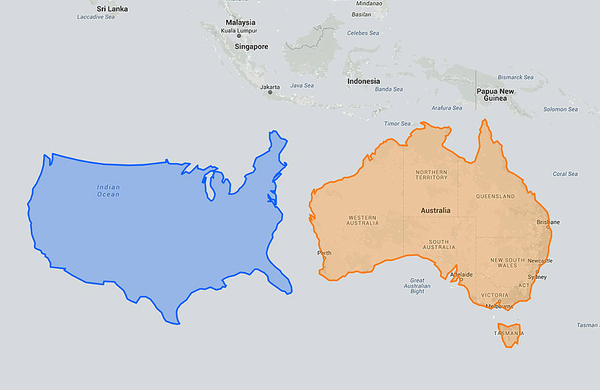 Рядом с Австралией США