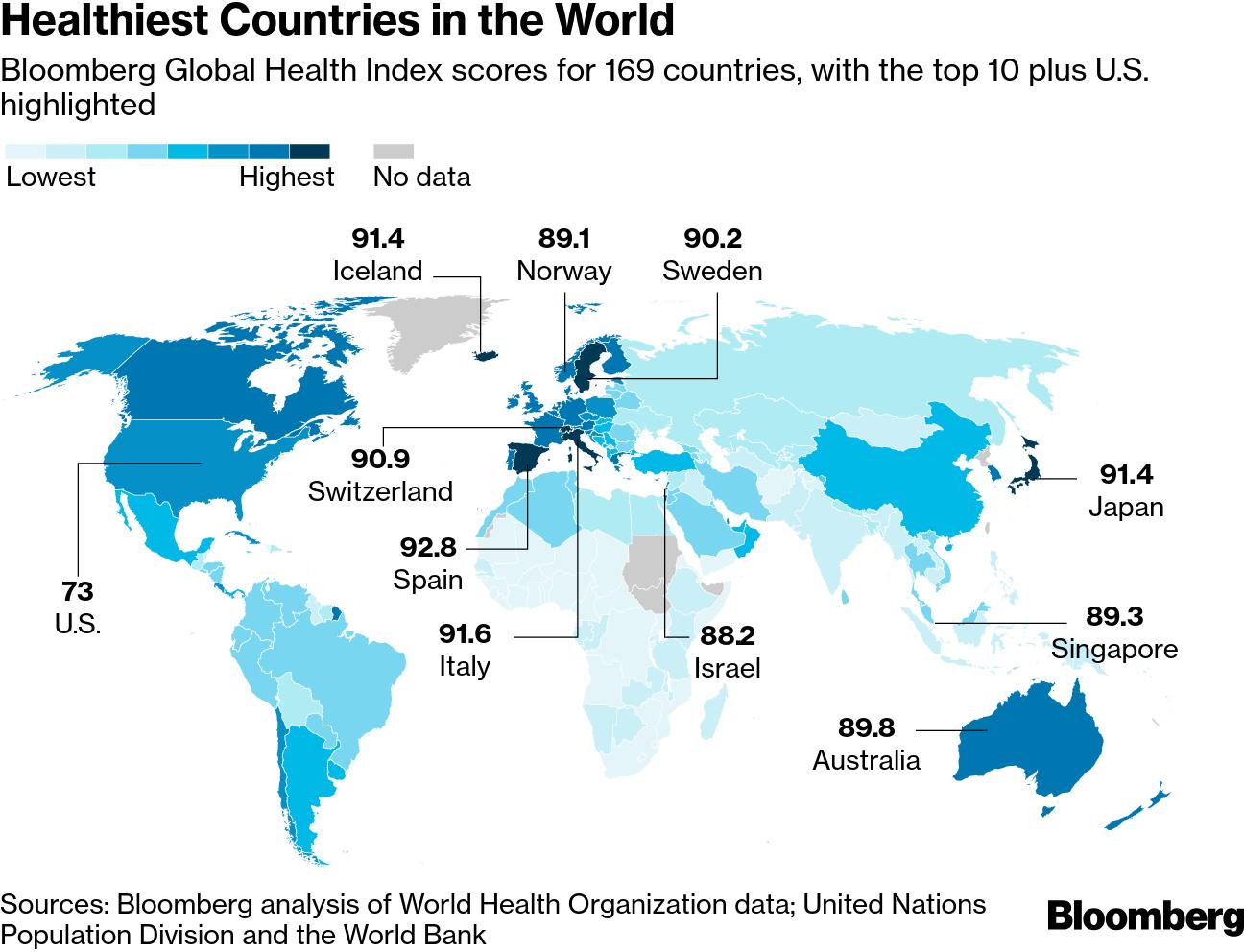 Карта стран по уровню здоровья граждан