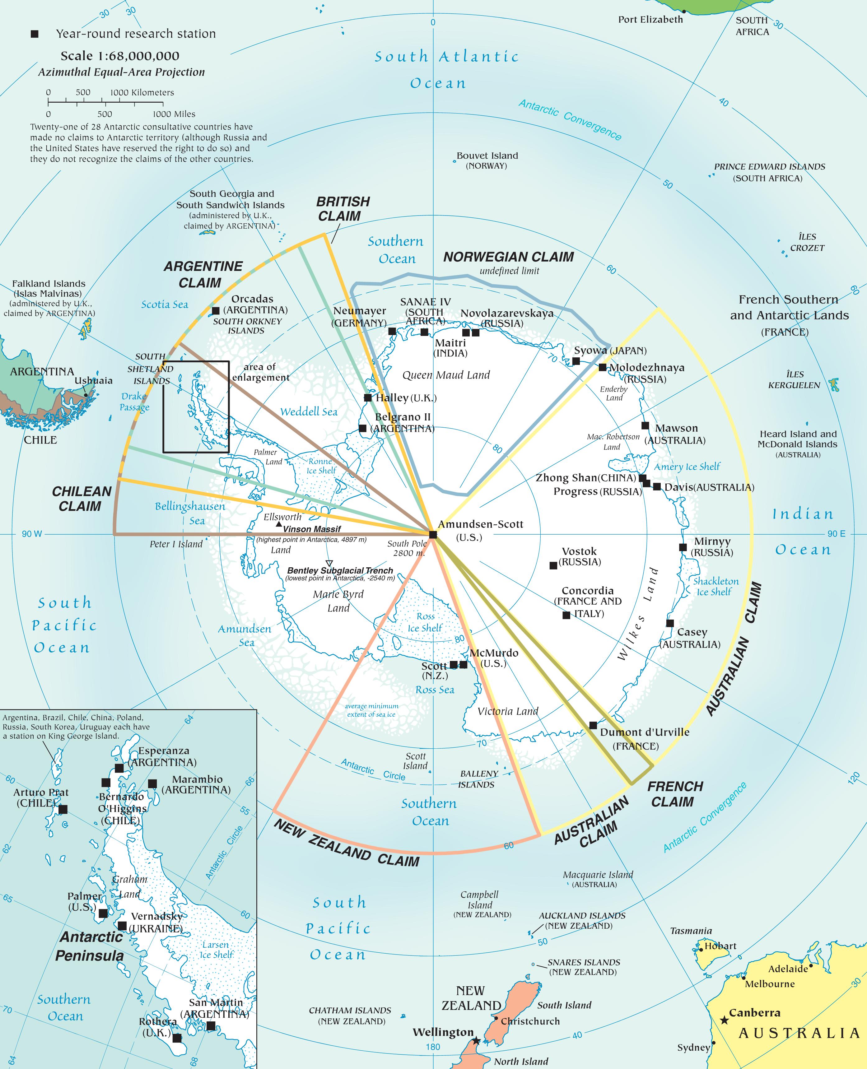 Карта Антарктиды по странам