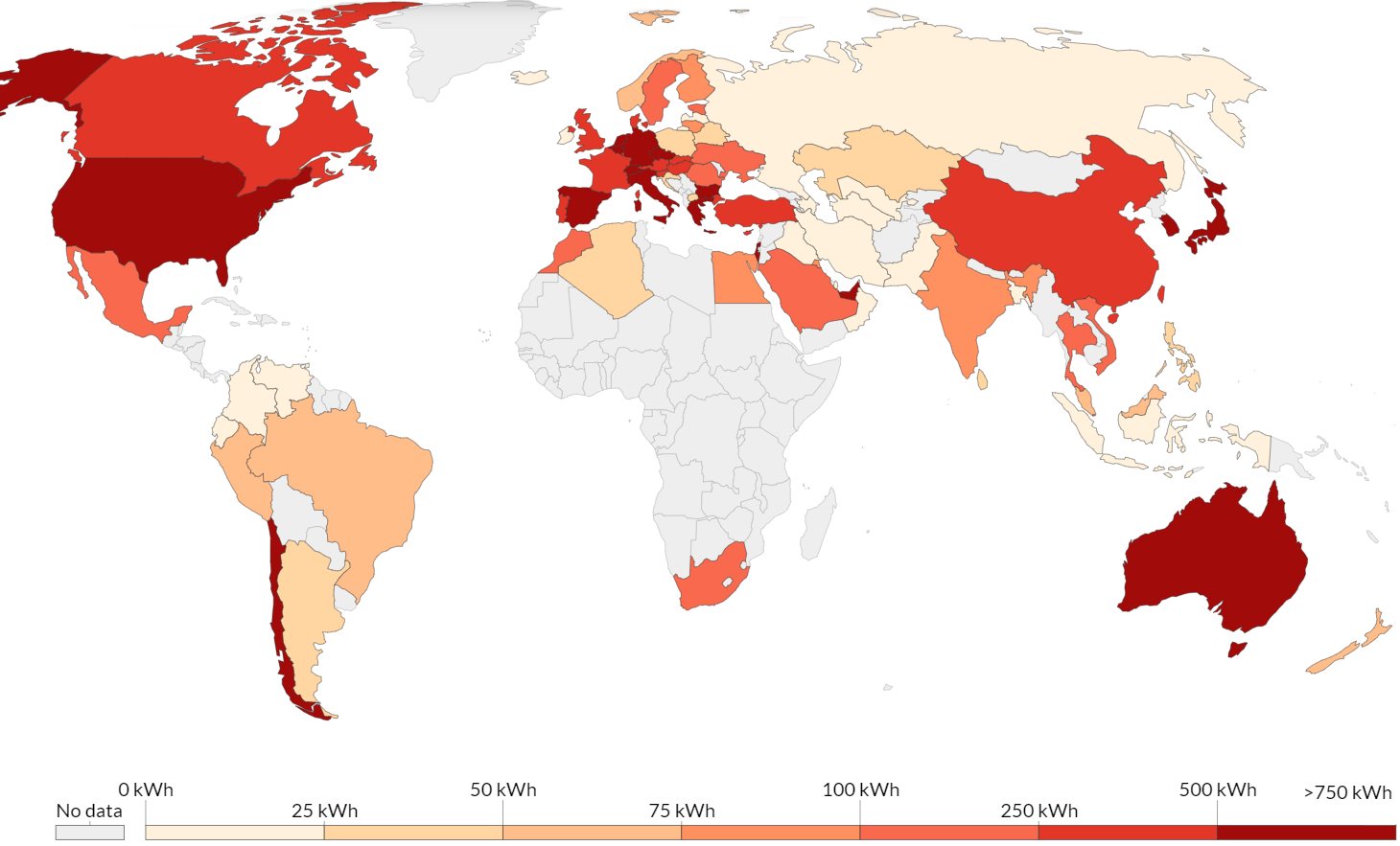 Карта стран по уровню потребления солнечной электроэнергии на одного человека в год