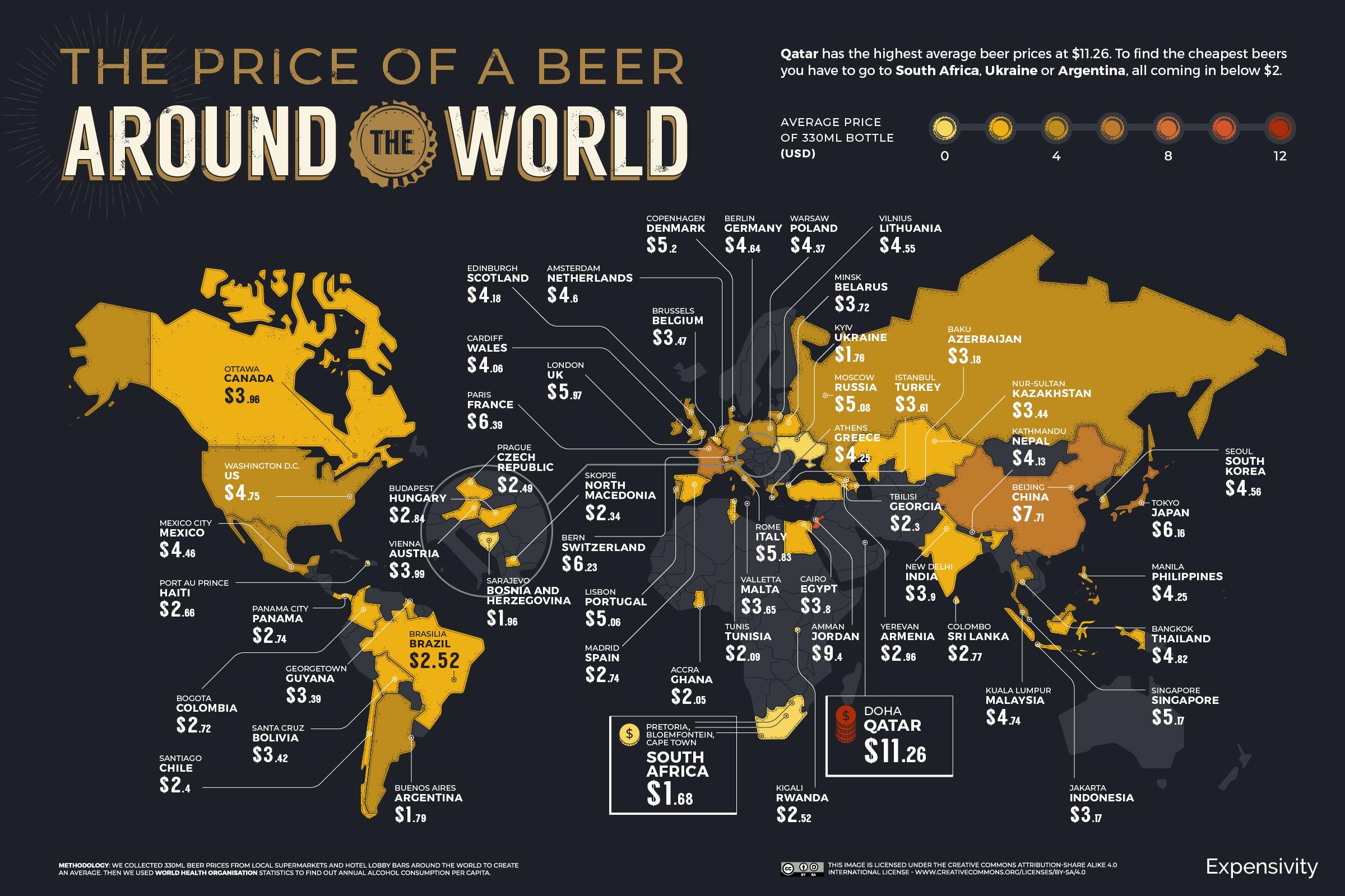Карта стран по стоимости пива
